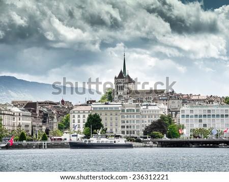 Lake Geneva Embankment on a clear day - stock photo
