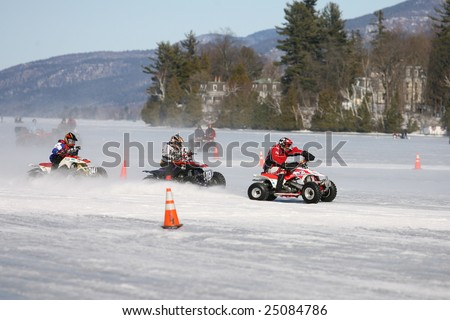 LAKE GEORGE, NEW YORK- FEBRUARY 14: Quad Race on the frozen lake during the 2009 Winter Carnival on February 14, 2009 in Lake George, NY.