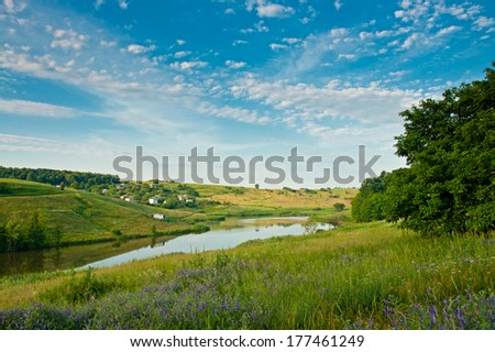 lake, green grass, flowers and white clouds on blue sky - stock photo
