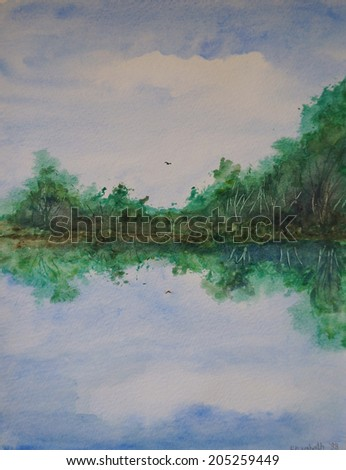 Lake hand painted watercolor illustration