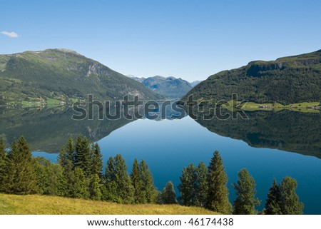 Lake Haukedalsvatn in Norway - stock photo