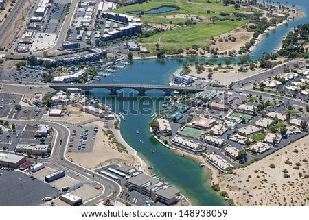 Lake Havasu, Arizona with an aerial view of the city center and the London Bridge - stock photo