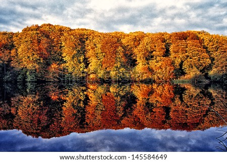 Lake Herthasee in Autumn, Ruegen Island - stock photo