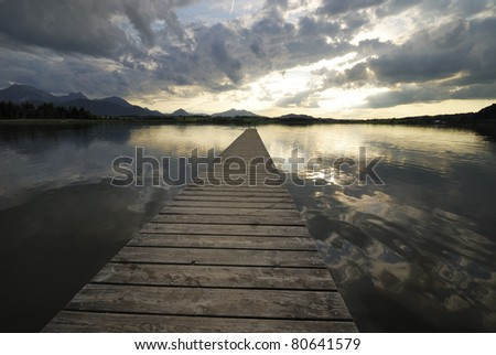 Lake Hopfsee in the Allgäu (Bavaria, Germany) - stock photo