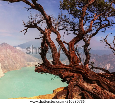 Lake in a crater Volcano Ijen, Java,Indonesia - stock photo