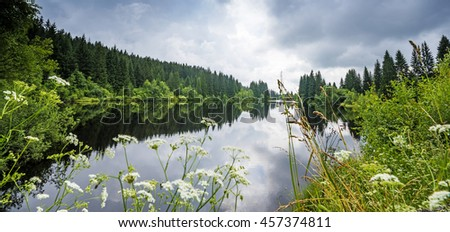 lake in a forest,Sumava - national park, Czech republic, Europe