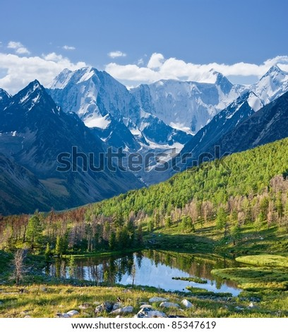 lake in a mountain slope - stock photo