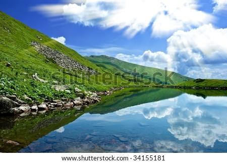 lake in a mountains - stock photo