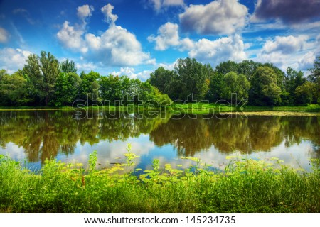 Lake in a summer forest. Sunny day, blue sky. - stock photo
