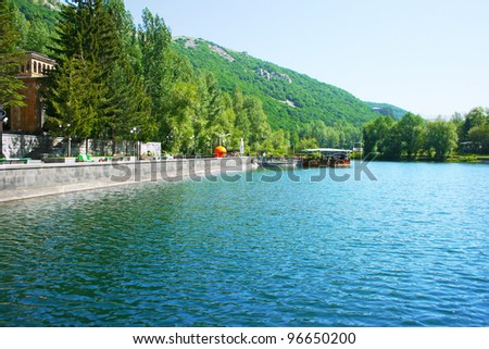 Lake in Armenian mountain city Jermuk.