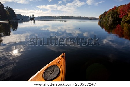 Lake in Autumn Algonquin Muskoka Ontario colors - stock photo