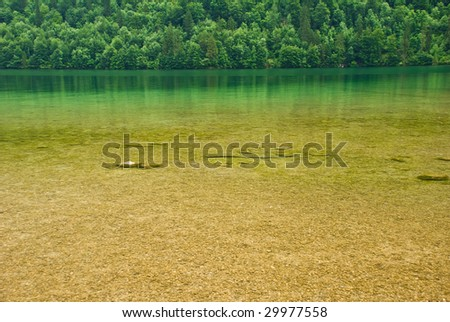 Lake in Bavarian Alps - stock photo