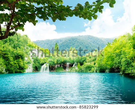 lake in deep forest - stock photo