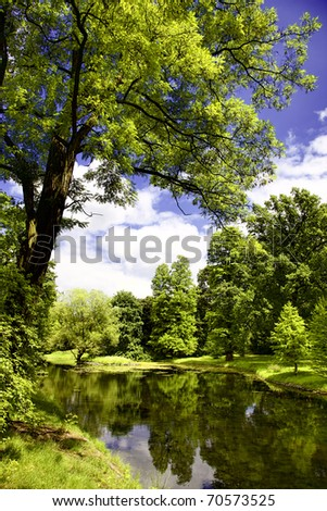 Lake in fall time - stock photo