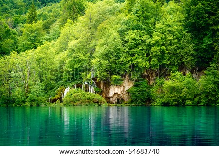 Lake in forest - stock photo