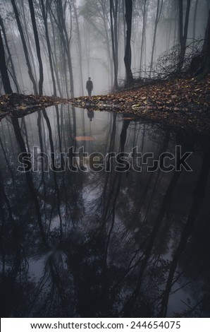 lake in forest with man reflection - stock photo