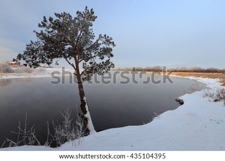 lake in ice, russian nature, cold spring morning