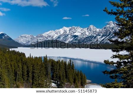 Lake in Kananaskis country, Alberta, Canada, Rockies. - stock photo