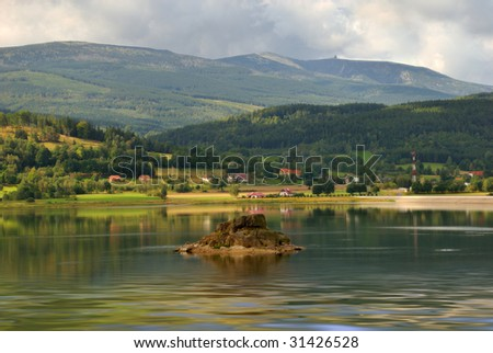 Lake in Mountains - karkonosze Poland - stock photo