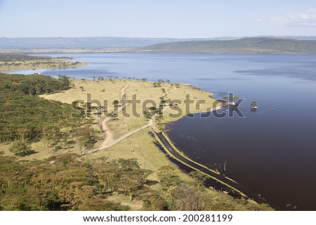 Lake in Nakuru National Park seen from an observation point in Kenya. - stock photo
