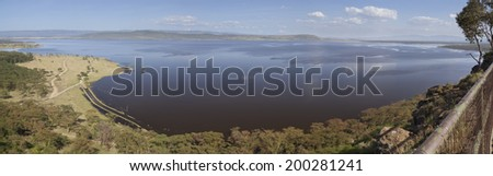 Lake in Nakuru National Park seen from the Baboon Cliff Lookout observation point in Kenya. - stock photo