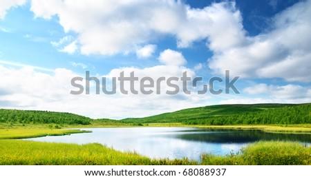 lake in north mountain - stock photo