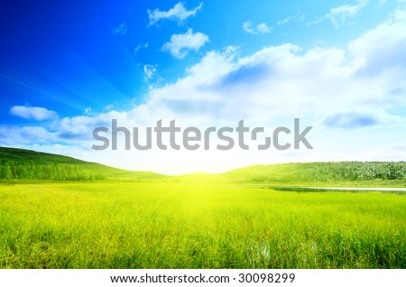 lake in north mountains - stock photo