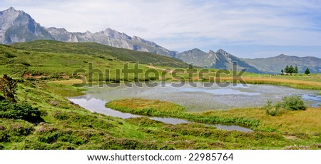 Lake in Pyrenees National Park, Col de Soulor, France. - stock photo