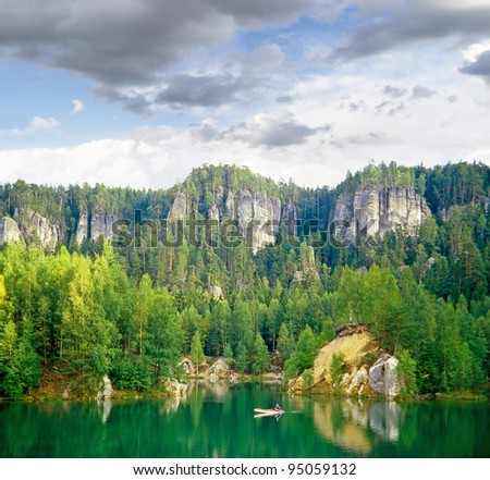 Lake in rock city Adrspach, National park of Adrspach, Czech Republic - stock photo