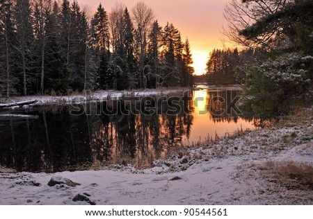 Lake in sunset - stock photo
