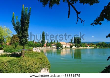 Lake in Tata, Hungary in summer - stock photo