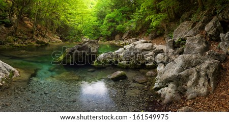 Lake in the canyon. Beautiful summer landscape - stock photo