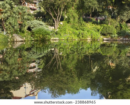 Lake in the center of city, Barcelona. - stock photo