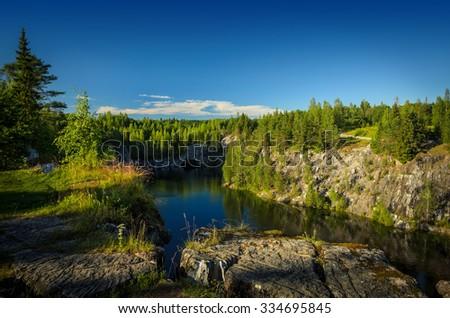 lake in the deep rift - stock photo