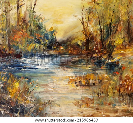 Lake in the forest, oil painting art background                                 - stock photo