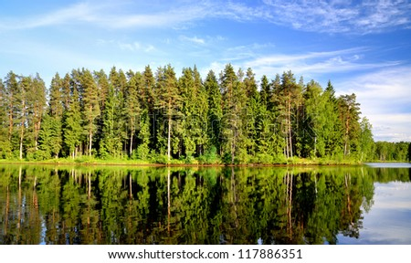 lake in the forest with reflection - stock photo
