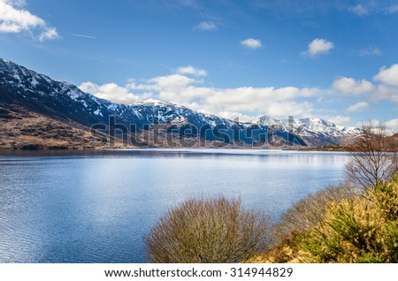 Lake in the Highlands of Scotland on a Clear Winter Day