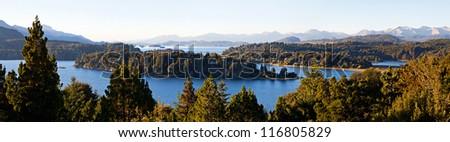 Lake in the mountains in autumn - stock photo