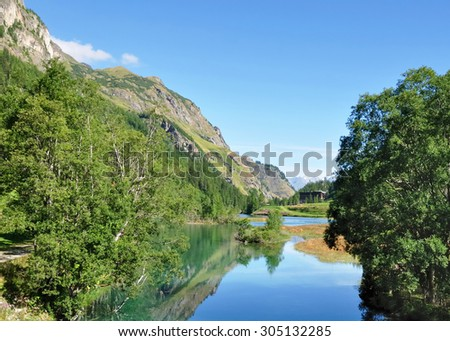 Lake in the mountains in summer - Savoy - La Tarentaise - stock photo
