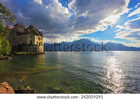 Lake in the mountains. The beginning of autumn in Montreux, Switzerland. Lake Leman in fine weather - stock photo