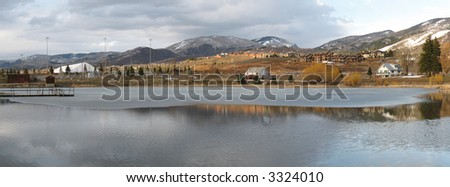 Lake in the Rockies - stock photo