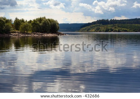 Lake in the Scottish Borders, UK - stock photo