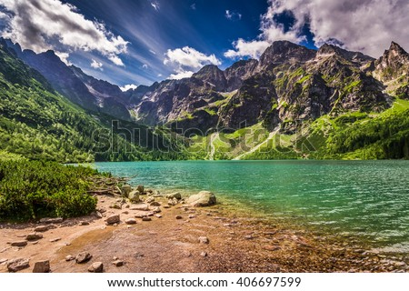 Lake in the Tatra Mountains at dawn, Poland - stock photo
