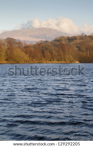Lake in wales with view of Snowdonia National Park - stock photo