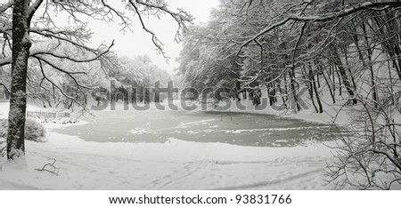 lake in winter - stock photo