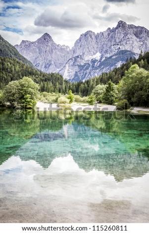 Lake Jasna near Kranjska Gora, Slovenia. - stock photo