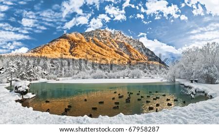 Lake Jasna near Kranjska Gora, Slovenia - stock photo