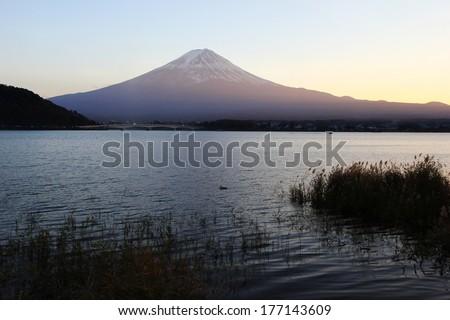 Lake Kawaguchi and Mount Fuji sunset - stock photo