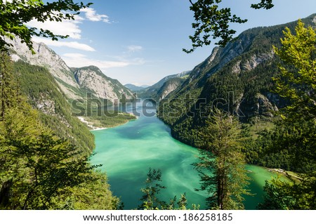 Lake Koenigssee near Berchtesgaden photographed from the Sagereckwand.