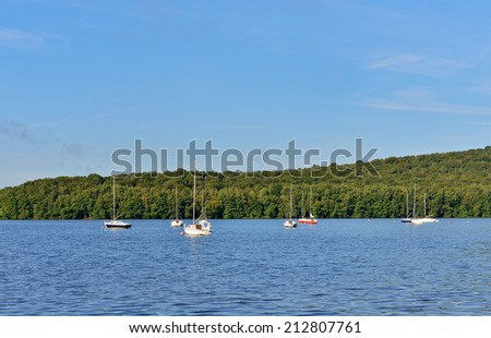 Lake Lac des Vieilles Forges in Ardennes, France in calm summer morning - stock photo